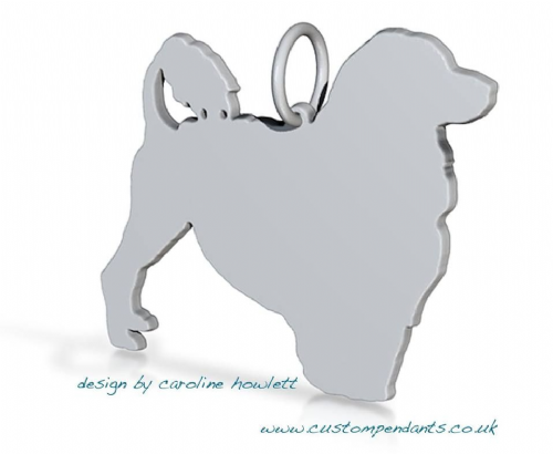 Portuguese water dog silhouette pendant sterling silver handmade by saw piercing Caroline Howlett Design